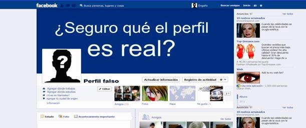 Desconocidos y perfiles sospechosos en redes sociales.